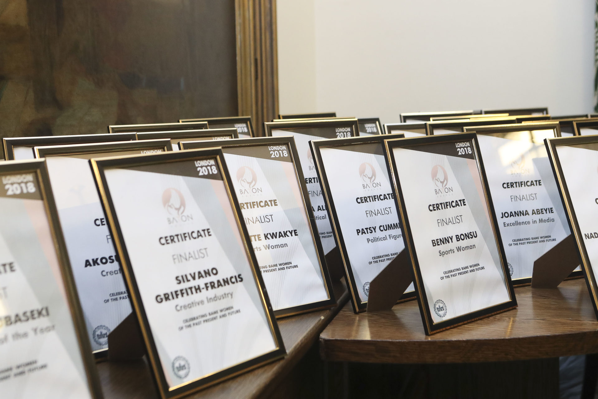 The Baton Awards 2018 Finalist Certificates
